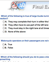 screenshot of a driver ed final exam